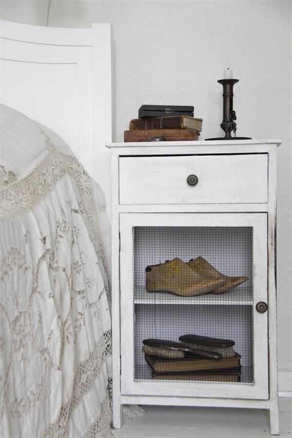 Wire Door, Bedside Bedroom Nightstand. White, Grey, Black