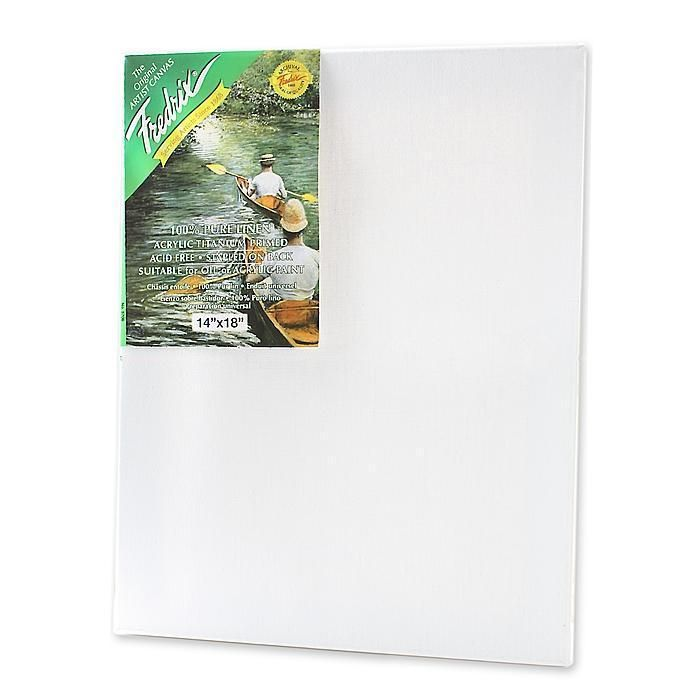 This Fredrix green label pre-stretched canvas features medium weight, 100-percent pure linen, with a pronounced texture. The canvas is stapled on back with the excess canvas folded over. Size: 14 inch