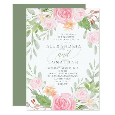Spring Floral | Watercolor Wedding Card - tap, personalize, buy right now!