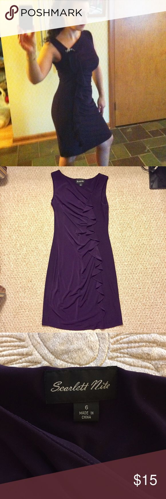 Purple Cocktail Dress Worn once for a wedding. Pin shown in first pic not included. Sideways ruffle detail along length of dress. 95% Polyester, 5% Spandex. Machine wash Cold. Tumble dry low. Dresses
