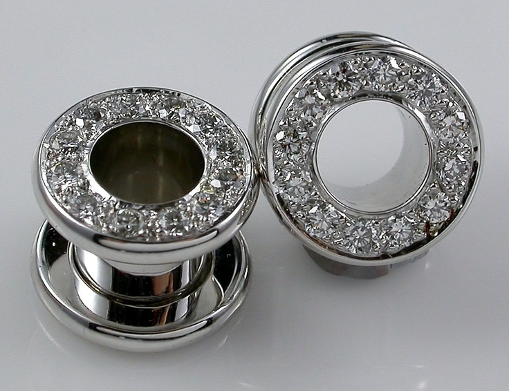 Diamond Tube screw in spacer earrings in 18ct white gold and diamonds