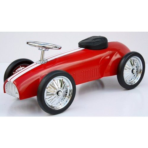 red kids ride on steel racer push car