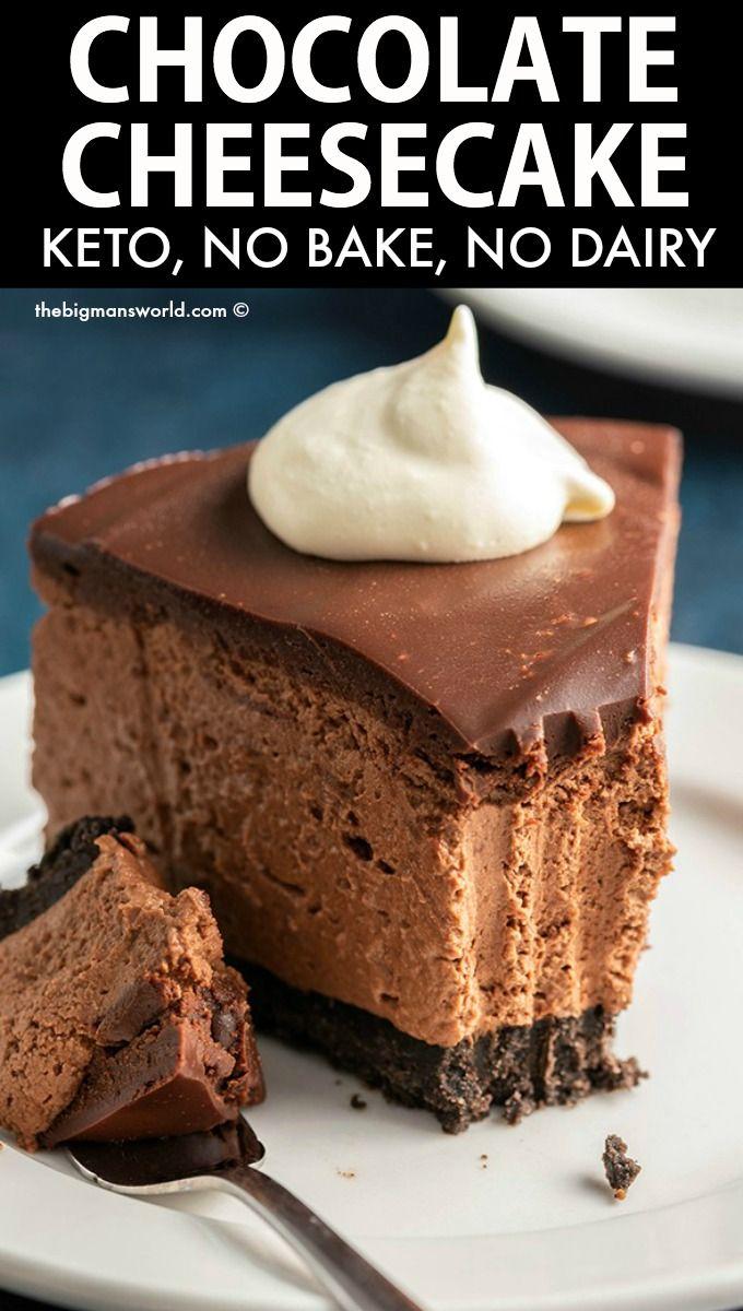 Keto Chocolate Cheesecake 5 Ingredients The Big Man S World Recipe In 2020 Healthy Chocolate Recipes Keto Dessert Easy Healthy Chocolate