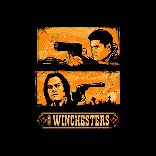 The Winchesters by zerobriant - Shirt sold on October 1st at http://teefury.com - More by the artist at https://www.facebook.com/zerobriantTees, Supernatural Tshirt, Winchester Tshirt, Geeky Shirts, Winchester T Shirts, Daily Shirts, Tshirt Design, Awesome Tshirt, Shirts Design