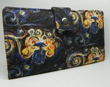 Handmade dr who Long Wallet  BiFold Clutch - vegan wallet -  Doctor Who's Van Gogh Tardis