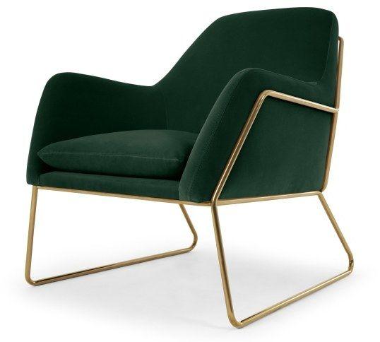163 599 Frame Pin Green Velvet Armchair With Gold Frame