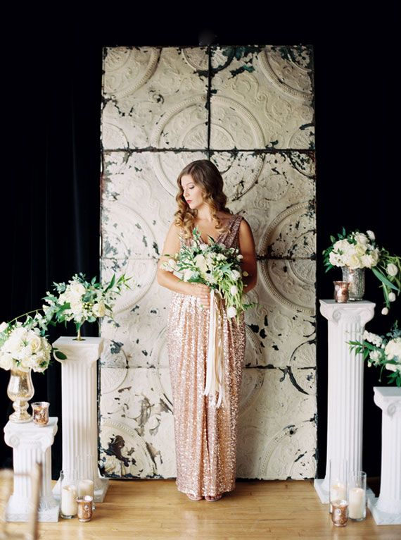 Sparkly gold wedding ideas   Photo by Emily Jane Photography   Read more - http://www.100layercake.com/blog/?p=79341