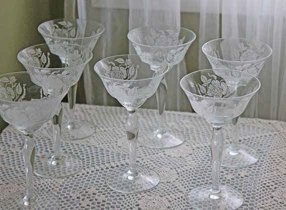 Crystal Glasses. Antique Crystal Liquor Glasses with Etched