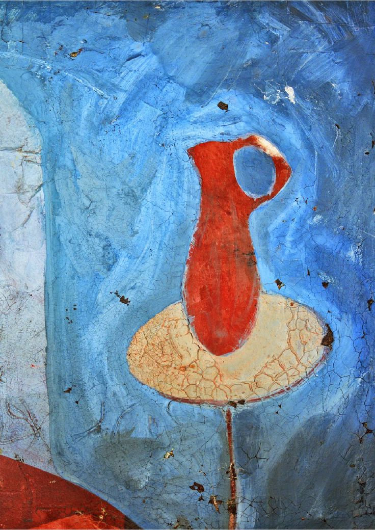 Jarro salmón en fondo azul y su mesita redonda JOSEBA PLAZUELO (artista visual) No es el cielo / No es el mar / No es río ni lago Es otro azul No el azul de Novalis / No el azul de Rubén Es u…