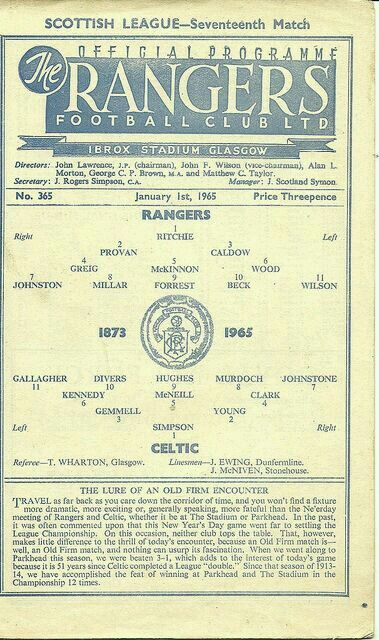 Rangers 1 Celtic 0 in January 1965 at Ibrox. Programme cover #ScotDiv1
