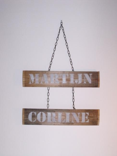 Wooden nameplate double - Houten Naambordje Dubbel - Creations by Corline