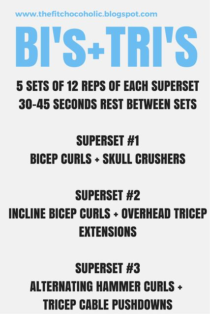 The Fit Chocoholic: Bicep + Tricep Superset Workout