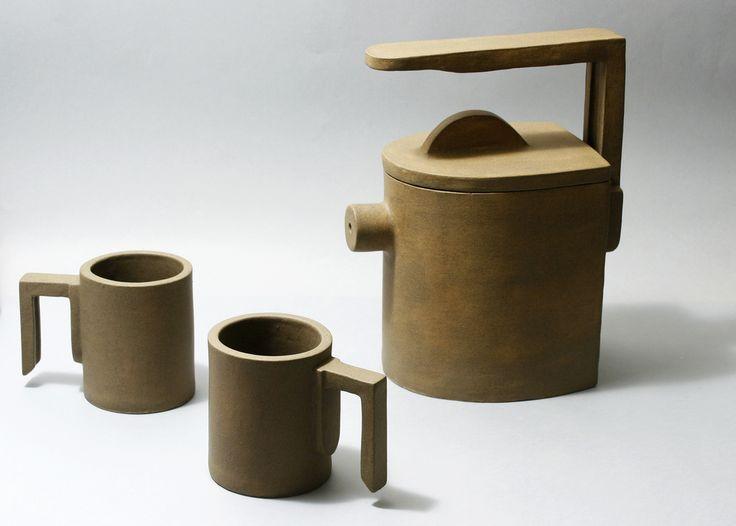"""Tea Set """"Geometric Desert"""". Trabalho premiado (menção honrosa) no 2° Salão Nacional de Cerâmica.   Flickr - Photo Sharing!"""