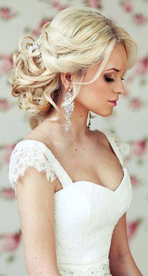 Lace shoulder sweetheart neckline wedding gown & gorgeous hair