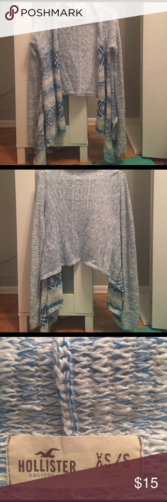 Blue and White Cardigan Blue and white knit cardigan from Hollister. Never worn before! Brand new condition! Hollister Sweaters Cardigans