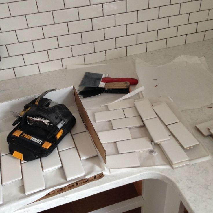 "Kitchen Backsplash Same As Countertop: ""the Backsplash Is Sheets Of 2×4 Inch Subway Tile From"