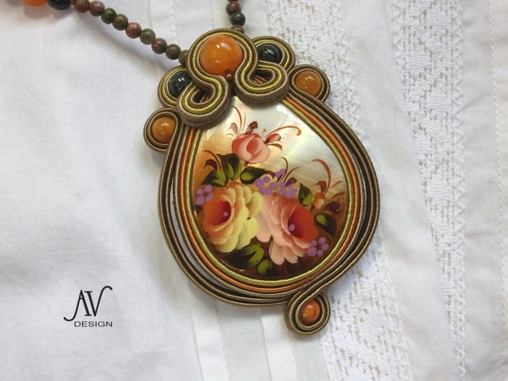 "Soutache pendant ""Flowers""."