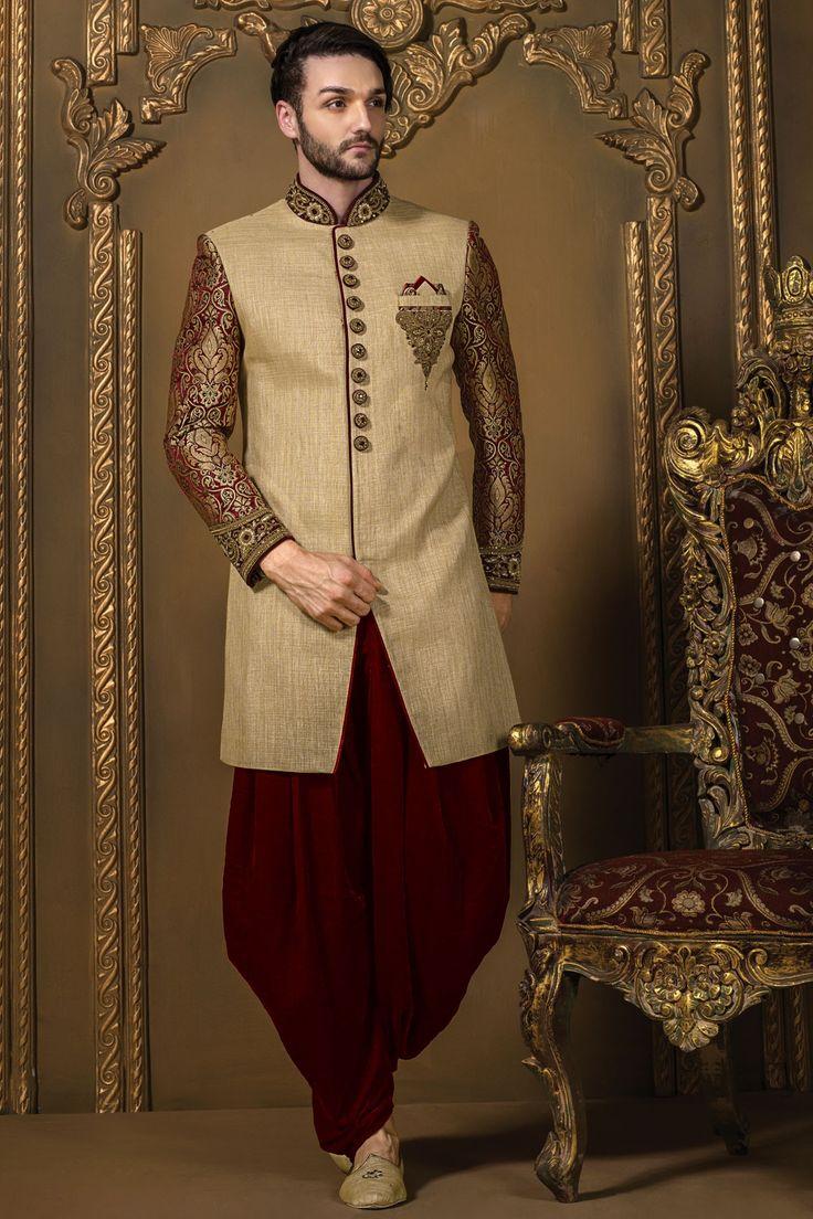 Creamish #gold & #maroon jute #silk & brocade badh gala #sherwani with full sleeves -IW322