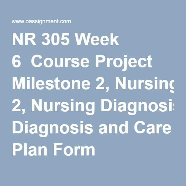 NR 305 Week 6  Course Project Milestone 2,Nursing Diagnosis and Care Plan Form