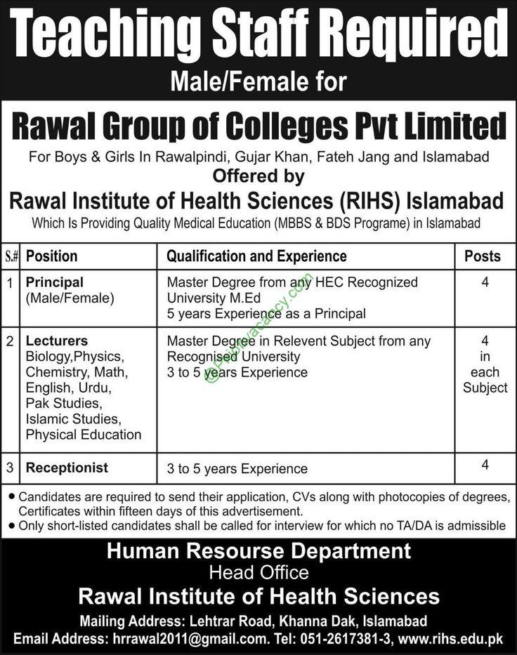 Rawal Institute of Health Sciences Islamabad Rawal Group of - telemarketing job description
