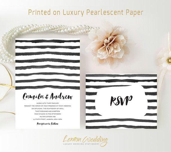 Black and white wedding Invitation kits printed | Simple wedding invitations cheap | Striped wedding invitations with RSVP postcards sets
