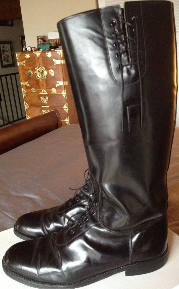 Police black leather motorcycle boots men 39 s size 10 5 Police motor boots