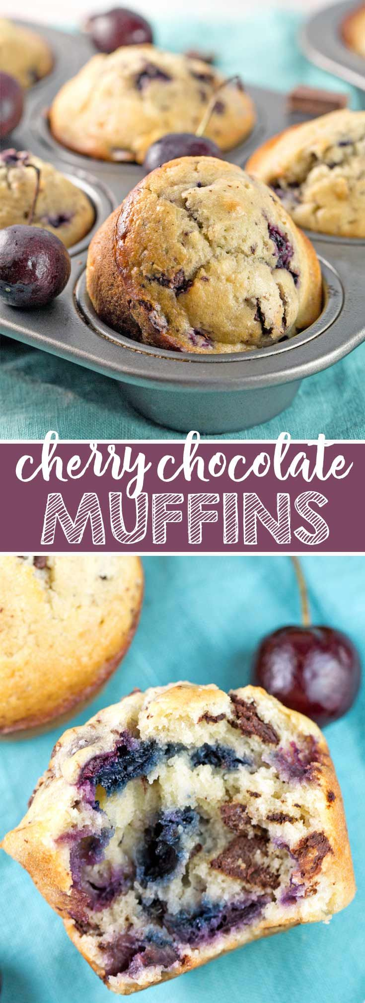 Cherry Chocolate Chunk Muffins: One bowl, mix by hand, filled with fresh cherries and dark chocolate chunks.  The perfect summertime sweet treat! {Bunsen Burner Bakery} via @bnsnbrnrbakery