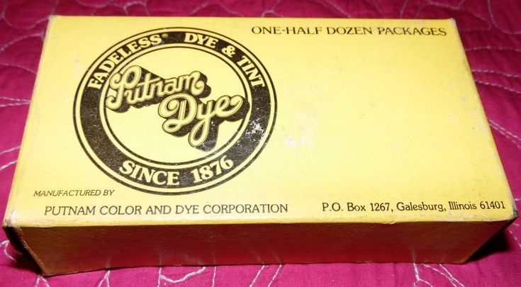 PUTNAM FADELESS Fabric DYE and TINT #21 Dark Blue Old Stock Box of 5 Packages #PutnamDye