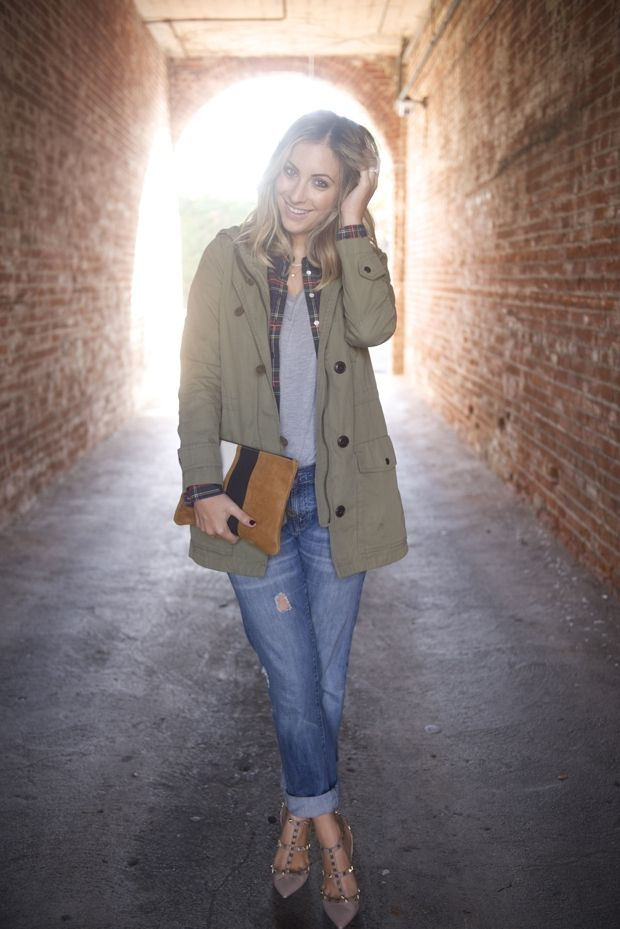 {Gap Jacket, J.Crew Button-down (similar here), Enza Costa Shirt, Gap Jeans, Valentino Heels,...