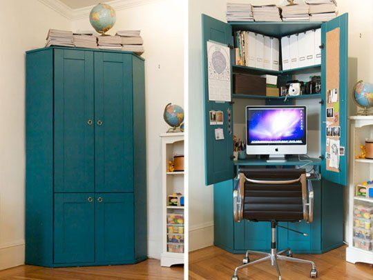 Jordan's Tucked in a Corner Hideaway Armoire Home Office IKEA desk with paint $100