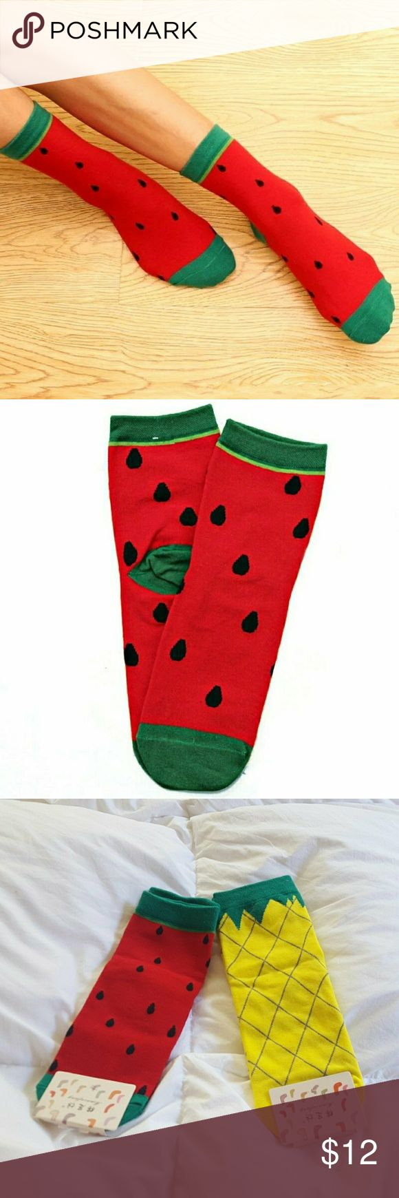 Quirky fruity strawberry watermelon ankle socks New with tags. Cutesy patootsie fruity watermelon loli quirky socks. One size.   These looks sooo great with juju jellies sandals and creepers ♡♡♡  🎄 Perfect stocking stuffers 🎄    ● 20% off on bundles     Fruits fruity watermelon strawberry berry socks ankle lolita kawaii pastel goth free alternative apparel notsopopularhobbit Accessories Hosiery & Socks