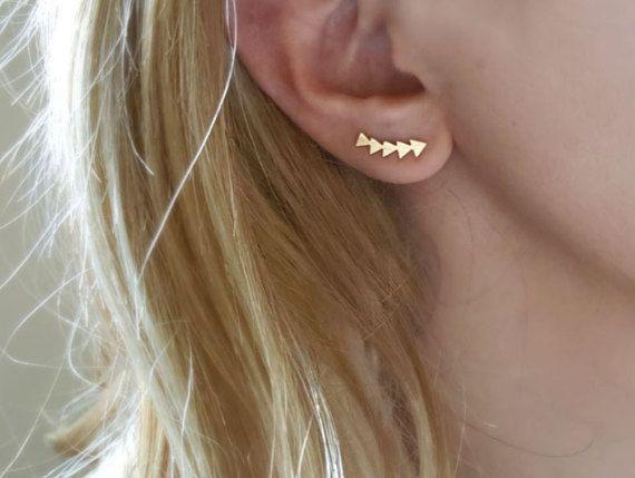 18 k grimpeur d'oreille or, vestes d'oreille Triangle, veste d'oreille en argent, veste en flèche d'oreille, bijoux de tous les jours, meilleur infini cadeau, boucles d'oreilles Gipsy, ami (e)
