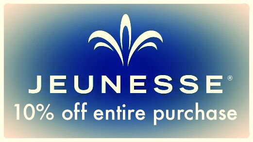 "Jeunesse Global and myself present Luminesce, Instantly Ageless, AM and PM Essentials, Reserve, Finiti, and lastly, ZEN Bodi. Take 10% off your entire order by first going to www.jehtynation.com to learn about your product, choose which product(s) you want, and then go to www.jehty.jeunesseglobal.com. Once you're on the site, go to the top right hand side and click, ""Get in touch!"" In the notes say, ""10% off please!"" And that's that! You're on your way to 10% off! Visit Jehty now! Thanks!"