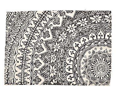 Tappeto in cotone bianco e nero Funn, 120x180 cm