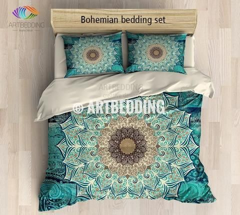 This bedding set is nothing less than extraodinary. What catches your eye is this beautiful multilayer Lotus flower mandala in purple and green. This design is the perfect combination between traditional mandala art design and modern digitally generated galaxy background that is so beautiful by itself. This design is a real compliment to your interior. 3-piece DUVET COVER SETIncludes: 1 duvet cover / NO duvet insert/ and a set of 2 pillow coversOur Reversible down Duvet Cover set be...