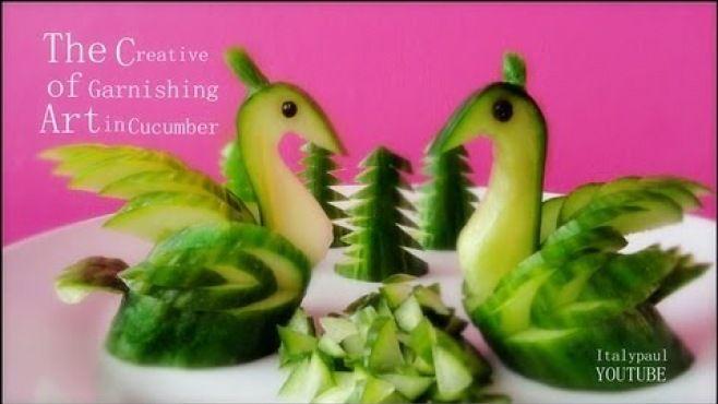 Sebze Oyma Dersleri - Salatalıktan Müthiş Tablo Yapımı - Sebze oyması - teknikleri, örnekleri ve ipuçlarını videolu anlatımı