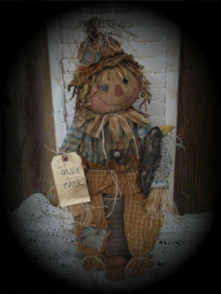 Primitive Scarecrow Doll/Crow #NaivePrimitive #Artist