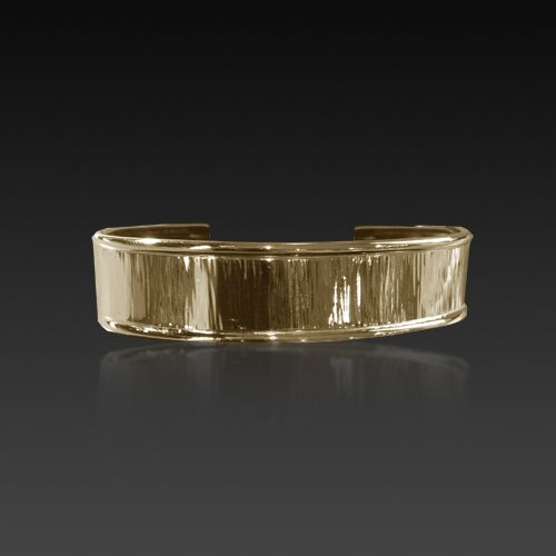 yellow gold, wide, water textured cuff bracelet