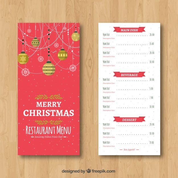 Retro christmas menu with decorative balls #Free #Vector
