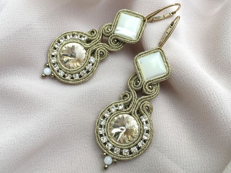 Gold, soutache earrings with mother of pearl and Swarovski crystals- Siena. Handmade earrings with natural stones. Christmas gift for her