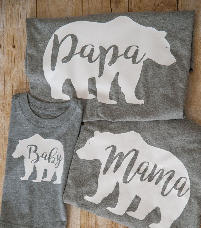 Mama Papa Baby Bear, Mama Bear, Papa Bear, Baby Bear, Family t shirts by LucysChicBoutique on Etsy