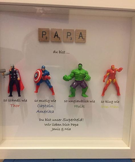 Avengers Superhero figures frame gift. Ideal for dad, brother, friend, son, nephew, husband. Father's day/ birthday or Christmas gift