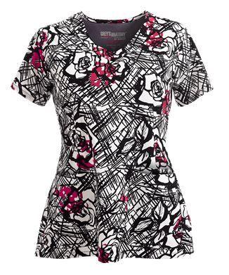 Grey's Anatomy Scrubs Signature Leila Print Top Style # GA2138LE…