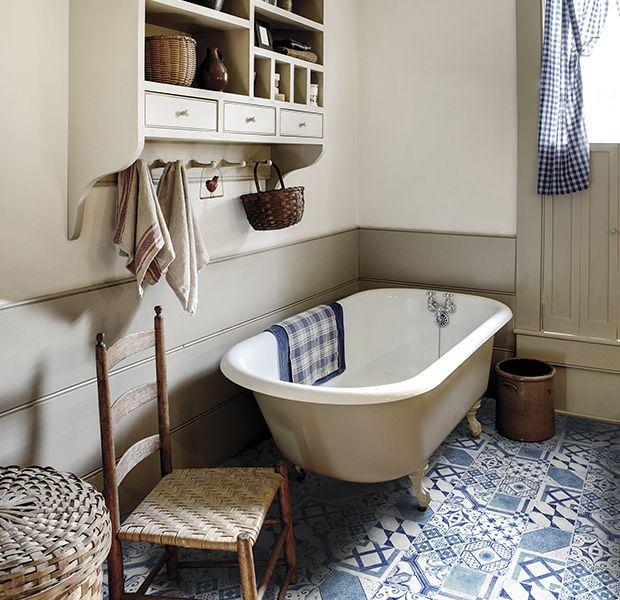 Decorative patchwork tiled floor in a bathroom