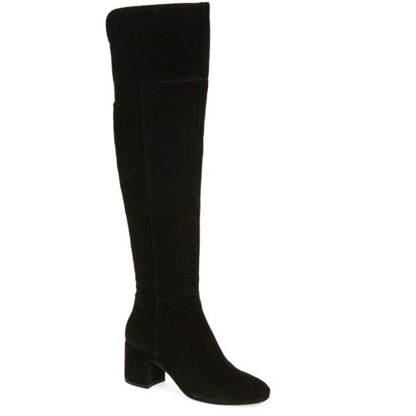 Women's Sarto By Franco Sarto Korrine Over The Knee Boot ($130) ❤ liked on Polyvore featuring shoes, boots, black suede, black boots, over-the-knee boots, black suede over the knee boots, above knee boots and over-the-knee suede boots