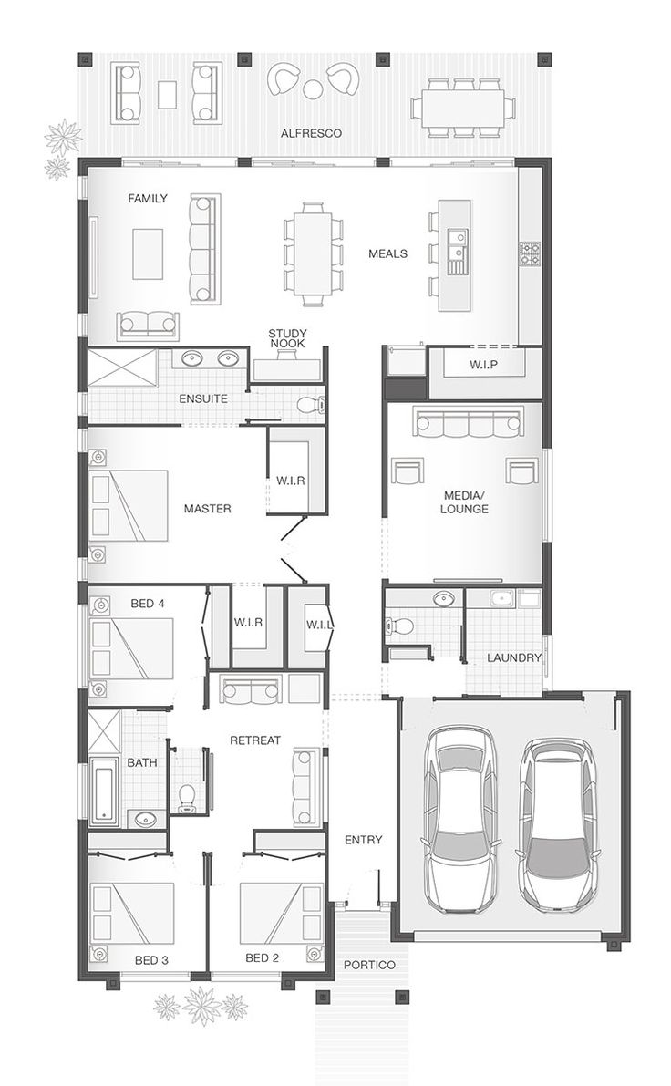 The INDIGO | 301.9m2 | Single storey home design floor plan by Adenbrook Homes. 4 Bedrooms. 2.5 Bathrooms. 2 Car garage.
