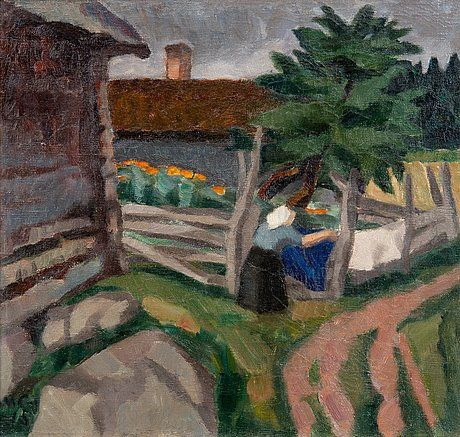MARCUS COLLIN (1882-1966) Drying the Laundry