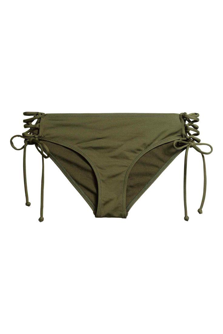 Bikini bottoms with lacing - Khaki green - Ladies | H&M GB