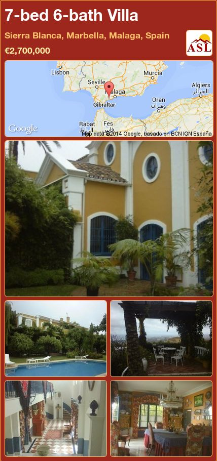 7-bed 6-bath Villa in Sierra Blanca, Marbella, Malaga, Spain ►€2,700,000 #PropertyForSaleInSpain
