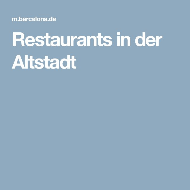Restaurants in der Altstadt